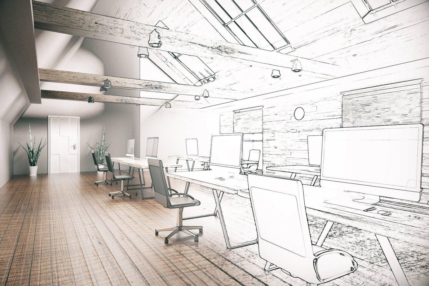 Aranżacja wnętrz,Wizualizacja projektu,rendering pomieszczenia biurowego, część narysowana ołówkiem, część z teksturami, biurka z krzesłami biurowymi, w tle drzwi i dwa kwietki w donicach