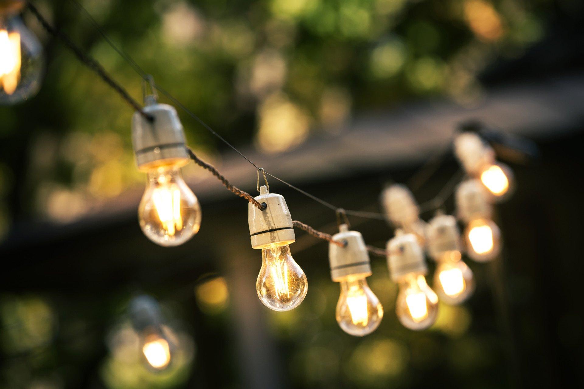 Ogród na wiosnę_Oświetlenie ogrodu_Sznury lampek ogrodowych_w tle zamazany ogród