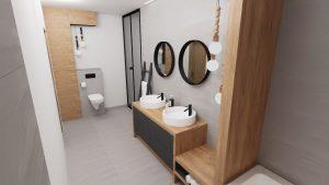 wąska łazienka, wąska łazienka aranżacje, wąska łazienka z wanną, łazienka z wanna, wąska wanna, bardzo wąska łazienka, wąska łazienka aranżacje, wąska łazienka z wanną, łazienka z wanna, wąska wanna, bardzo wąska łazienka, projekt wąskiej łazienki z wanną, szare płytki na podłodze, szare płytki za umywalką, dwie umywalki okrągłe, baterie umywalkowe czarne, szafka pod umywalki drewniana z szufladami, fronty szuflad czarne gładkie, nad umywalkami dwa okrągłe lustra, wieszak na ręczniki czarna drabinka, w oddali zabudowana spłuczka podtynkowa z WC, zabudowane szafki w kolorze drewna, drewno w łazience