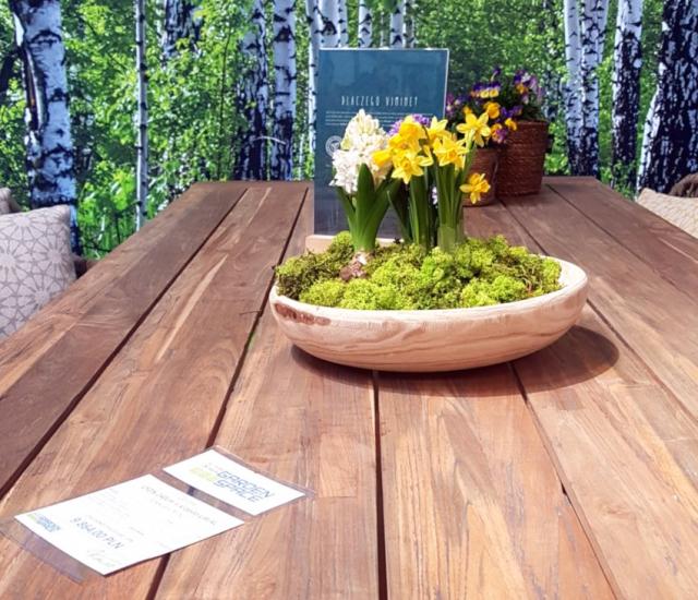 Targi Green Days, meble ogrodowe, meble z rattanu, Garden Space, drewniany stół, drewniana misa z żonkilami i mchem na stole, w tle tapeta z brzozowym lasem