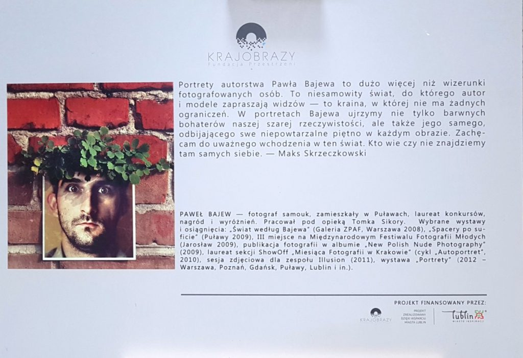 Targi Green Days, wystawa prac Paweł Bajew, fotografie, tablica informacyjna o Paweł Bajew, Fundacja Krajobrazy