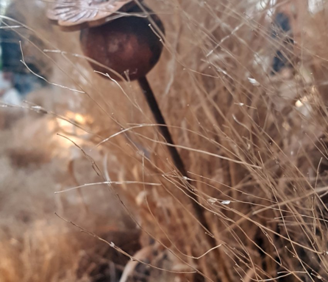 Targi Green Days, wystawa ogrodnicza, metalowe dekoracje do ogrodu, wykute rośliny makówka wbita w ziemie pomiędzy suchymi trawami, w tle suche trawy