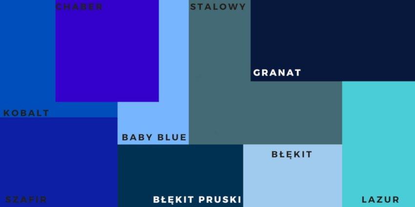 Kolorowe drzwi wejściowe, tabela odcieni niebieskiego,