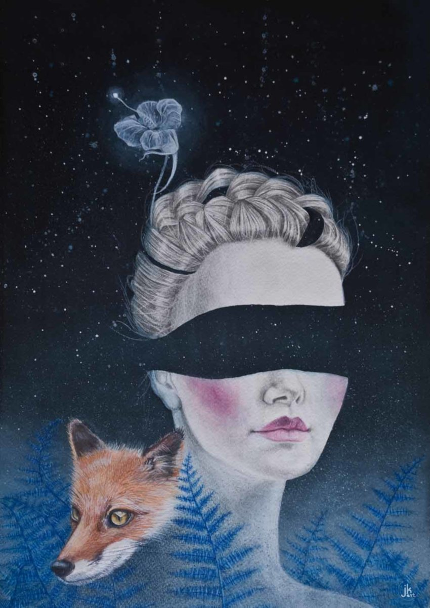 obraz, kolory niebieskiego, plakat, kobieta z opaską na oczach z lisem w paprociachwww.joannakrzepinaart.com