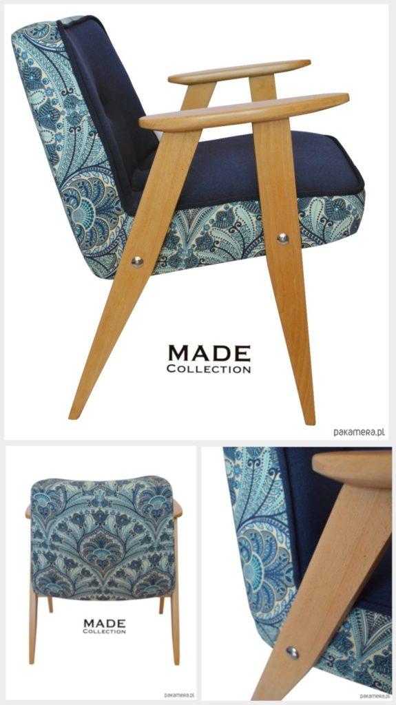 Meble PRL, łączenie starych mebli z nowymi, Styl PRL we wnętrzach, Jak połączyć antyki z nowoczesnym wnętrzem, fotel Chierowski 366, stary fotel, niebieski fotel, tkanina obiciowa, niebieska tkanina tapicerska, na zdjęciu fotel chierowskiego model 366 odrestaurowany w niebieskiej tkaninie