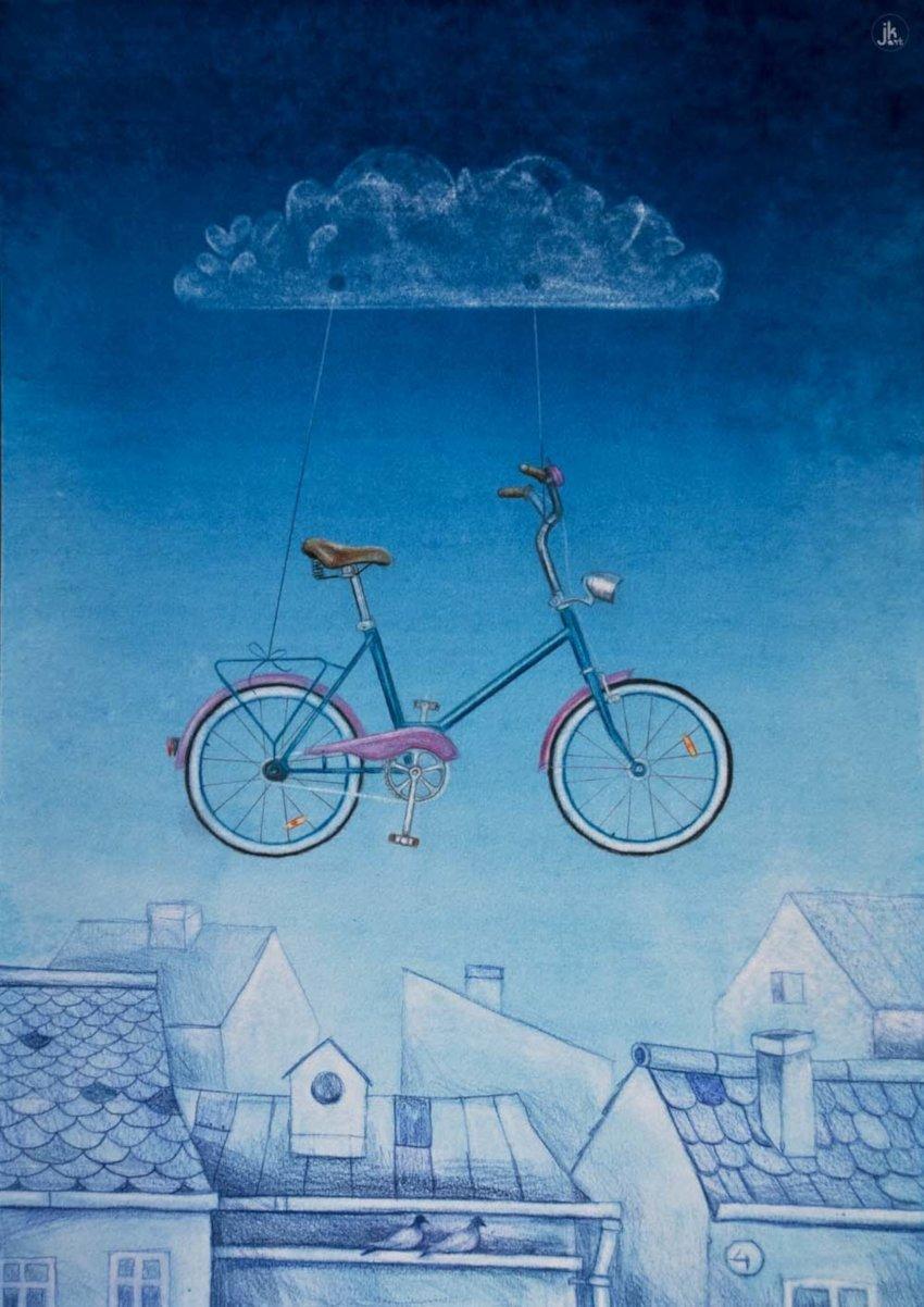 obraz, kolory niebieski, plakat, różowy rower zawieszony na chmurze latający nad dachami domówwww.joannakrzepinaart.com