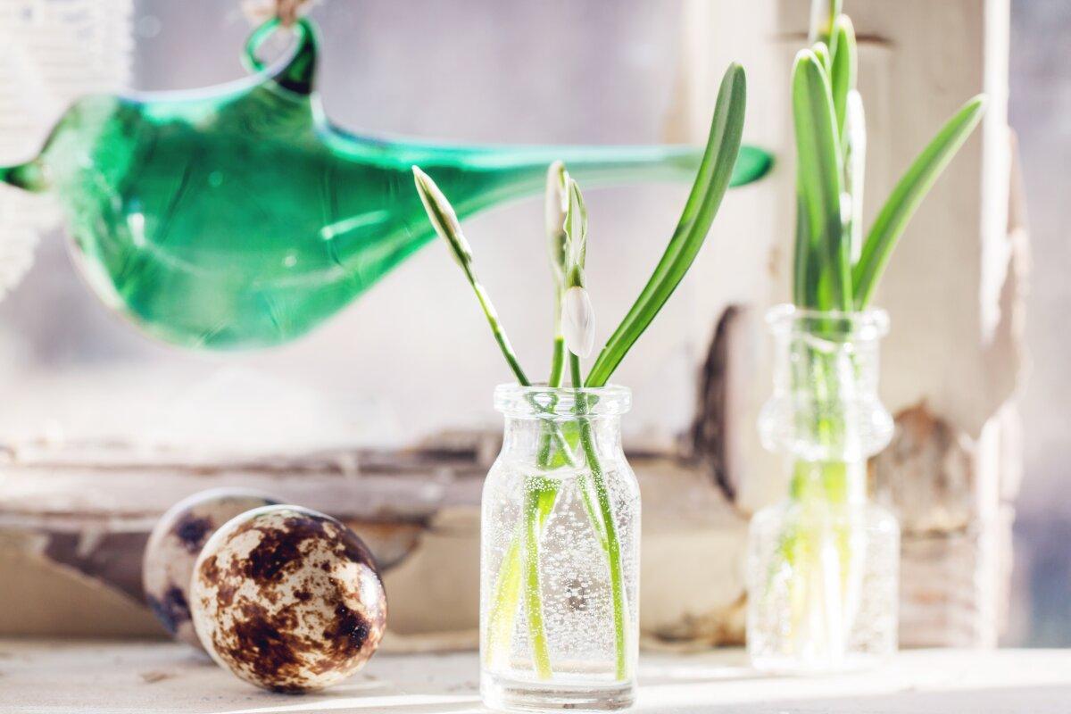 Dekoracje do salonu, dekoracje na parapet, jak dekorować parapet, kwiatki w szklanych słoiczkach stoją na parapecie, zielony szklany ptaszek wisi na sznurku