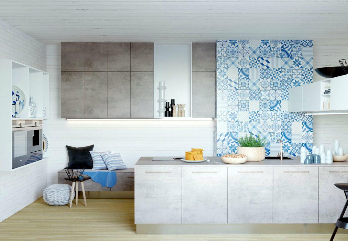 Dlaczego projektant wnętrz, pomieszczenie kuchenne szafki kuchenne imitacja betonu, szare szafki kuchenne, kafelki we niebieskie portugalskie wzory, kafelki w marokańskie wzory, siedzisko w kuchni