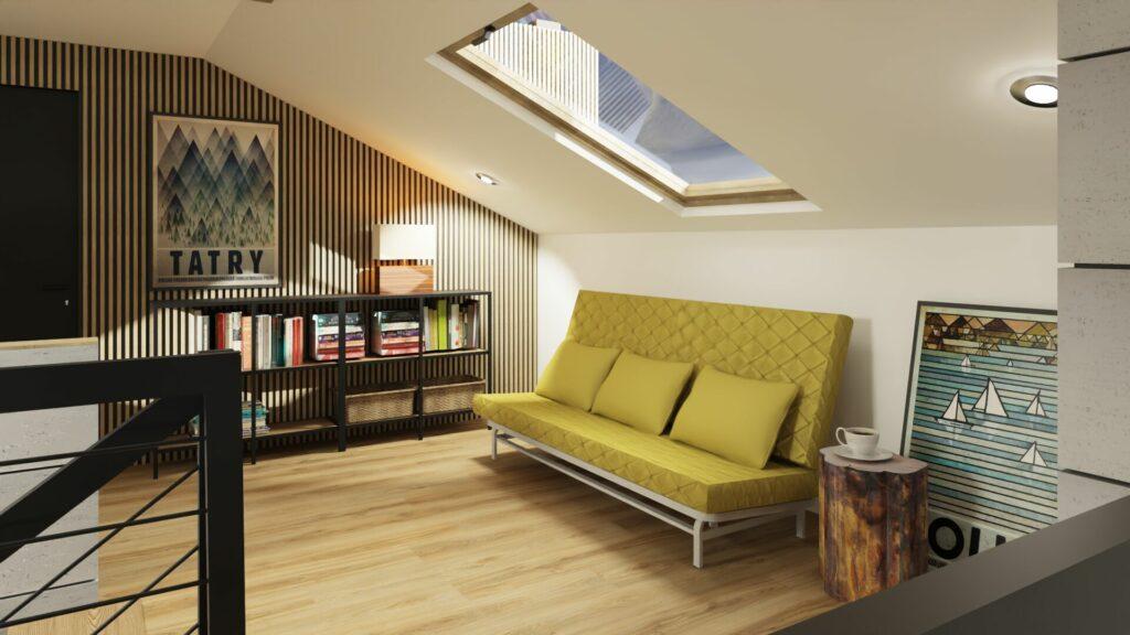 Dom z antresolą- łóżko na antresoli