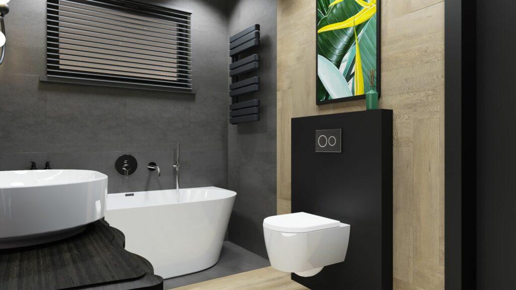 Grzejnik w dużej łazience- dom Pruszków