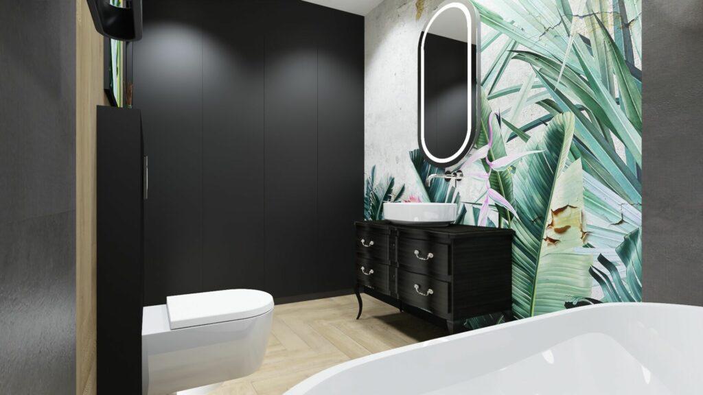 Lustro w dużej łazience- dom Pruszków