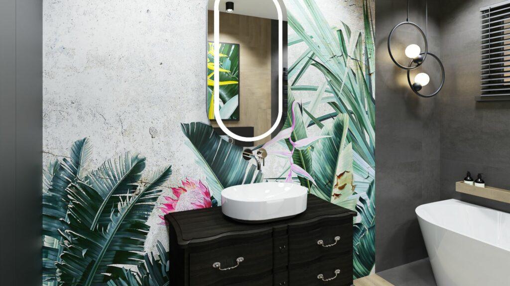 Tapeta w dużej łazience- dom Pruszków
