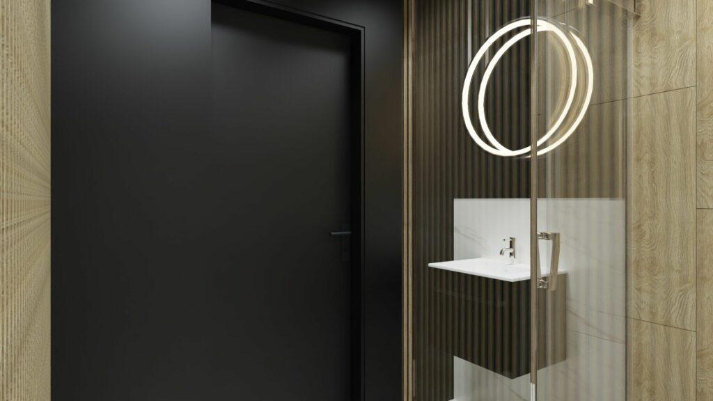 Drzwi w małej łazience- dom Pruszków