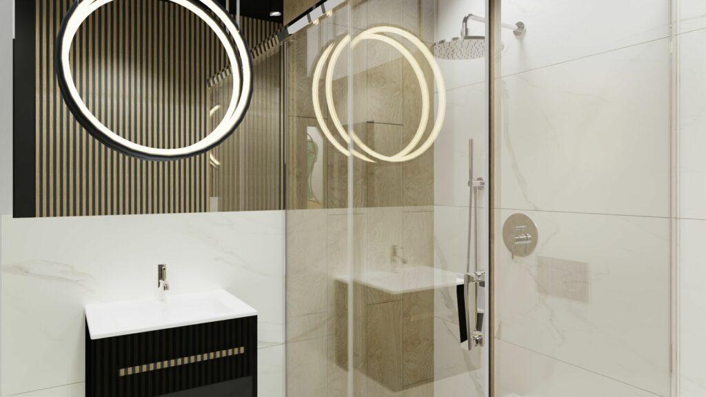 Lampa w małej łazience- dom Pruszków