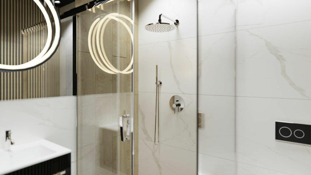 Prysznic w małej łazience- dom Pruszków