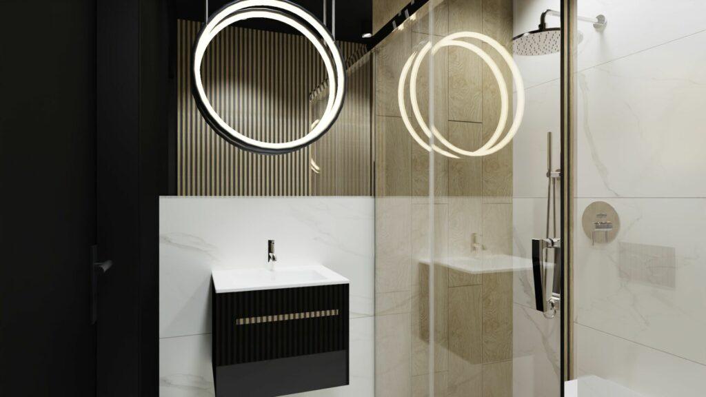 Zlew w małej łazience- dom Pruszków