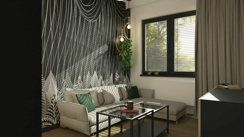 Sypialnie z tapetami- pomysły na małą sypialnię- Pruszków