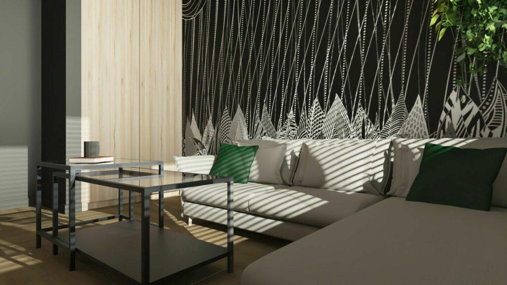Tapeta na jednej ścianie w sypialni z sofą- Pruszków