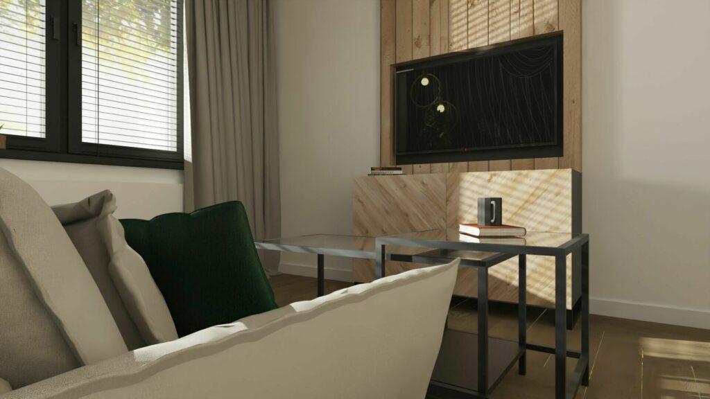 Telewizor w pokoju gościnnym w drewnie- Pruszków