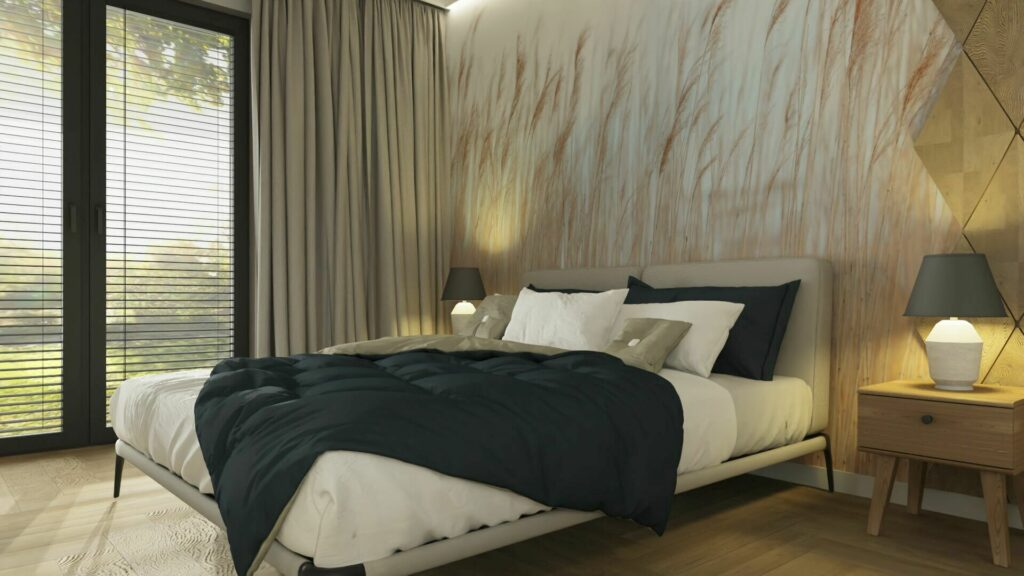 Elegancka lampa do sypialni- betonowa JUDITH od firmy RABALUX