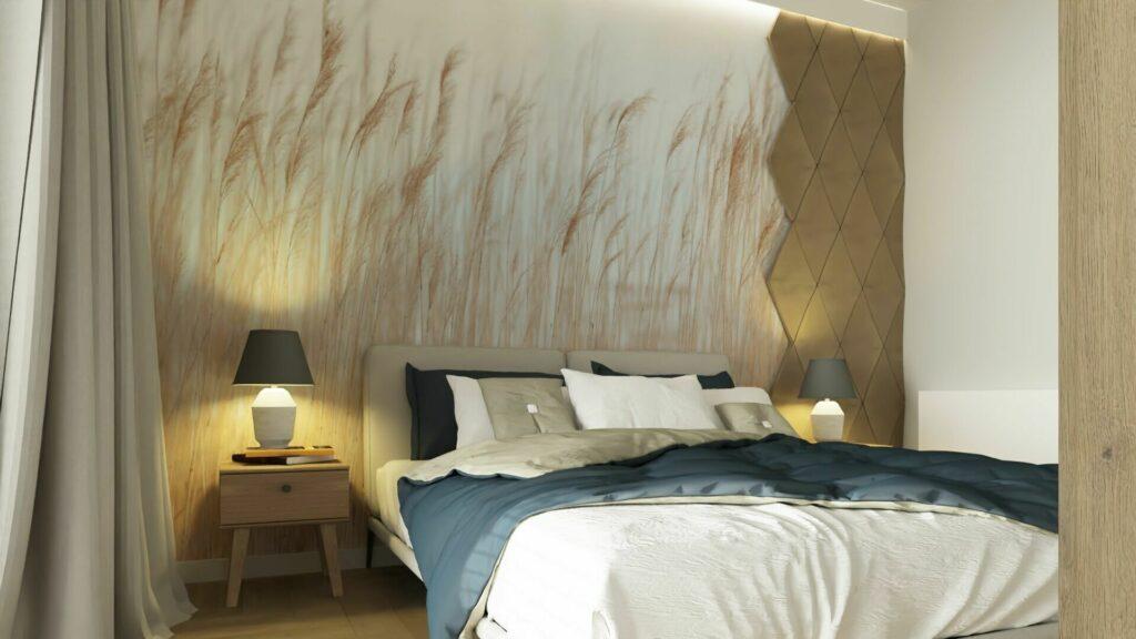 Sypialnia z tapetą Swaying Wheat od firmy RABEL WALLS