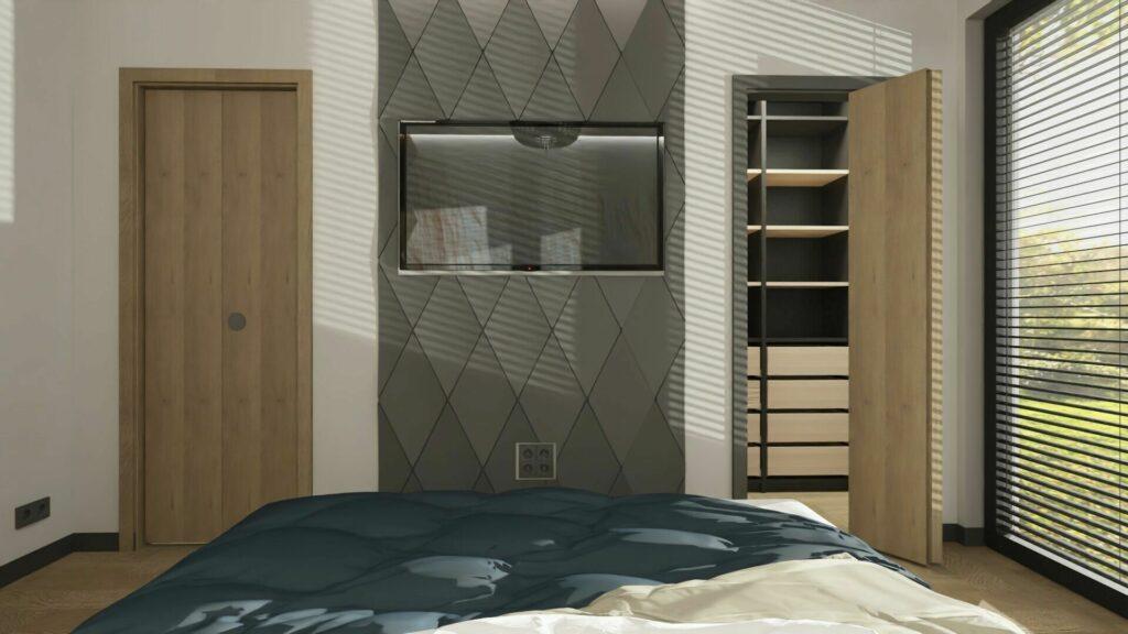 Sypialnia z garderobą i telewizorem- Pruszków