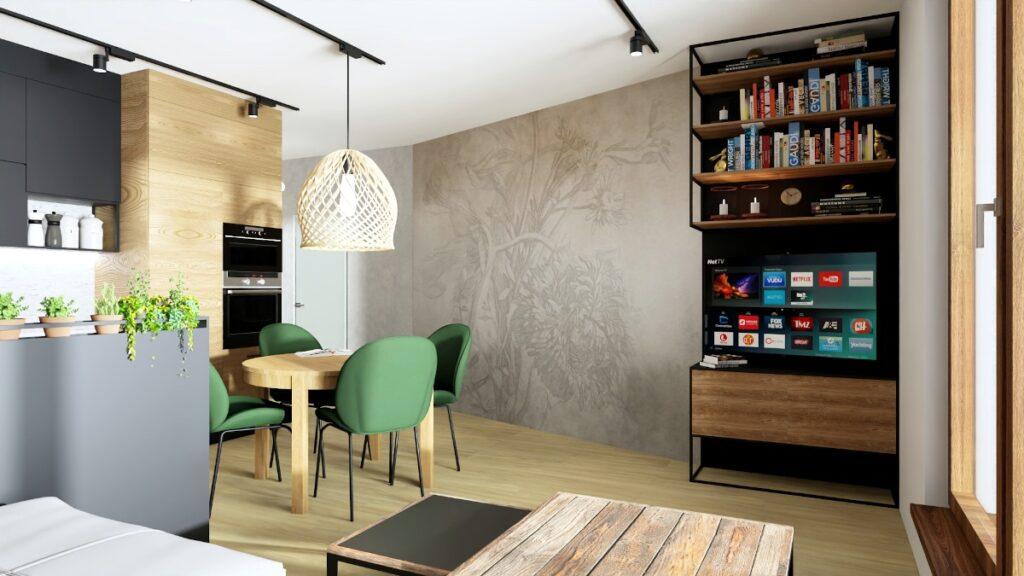 Małe mieszkanie projekt, salon w kawalerce, lekkie meble, meble na konstrukcji metalowej, metalowe meble, meble płyta Swiss Krono, zielone krzesła przy stole drewniany stolik kawowy