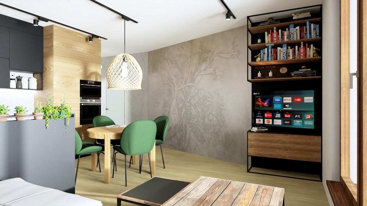 Kawalerka jak urządzić, salon w kawalerce, lekkie meble, meble na konstrukcji metalowej, metalowe meble, meble płyta Swiss Krono, zielone krzesła przy stole drewniany stolik kawowy