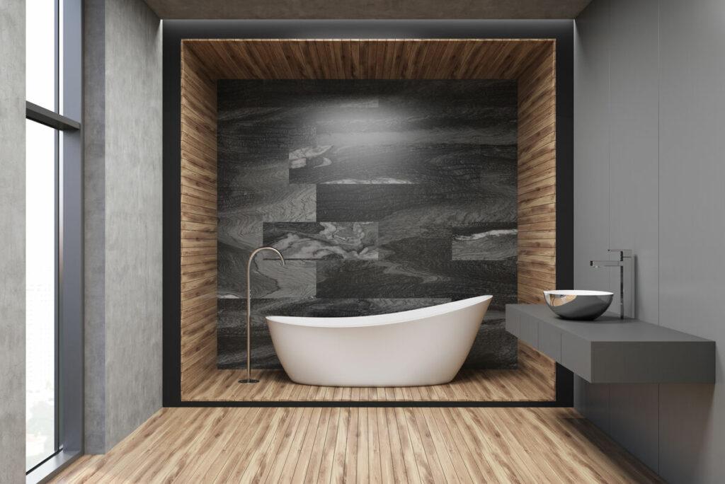Łazienka z drewnem i kamieniem