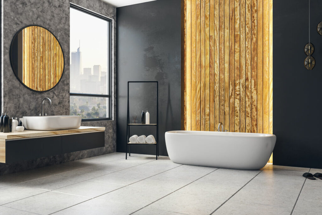 Łazienka z drewnem- lustro