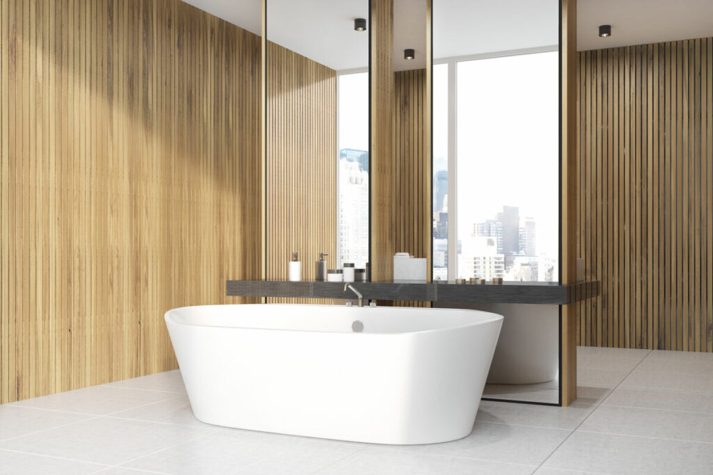 Łazienka z drewnem-wanna