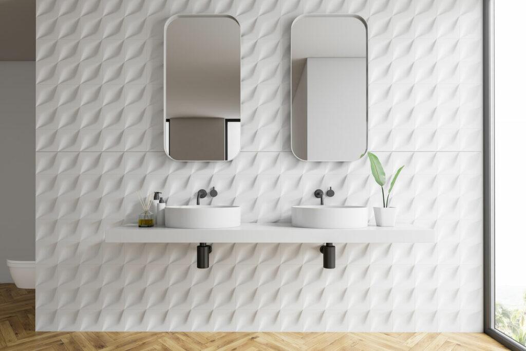 Panele 3D do łazienki i roślina