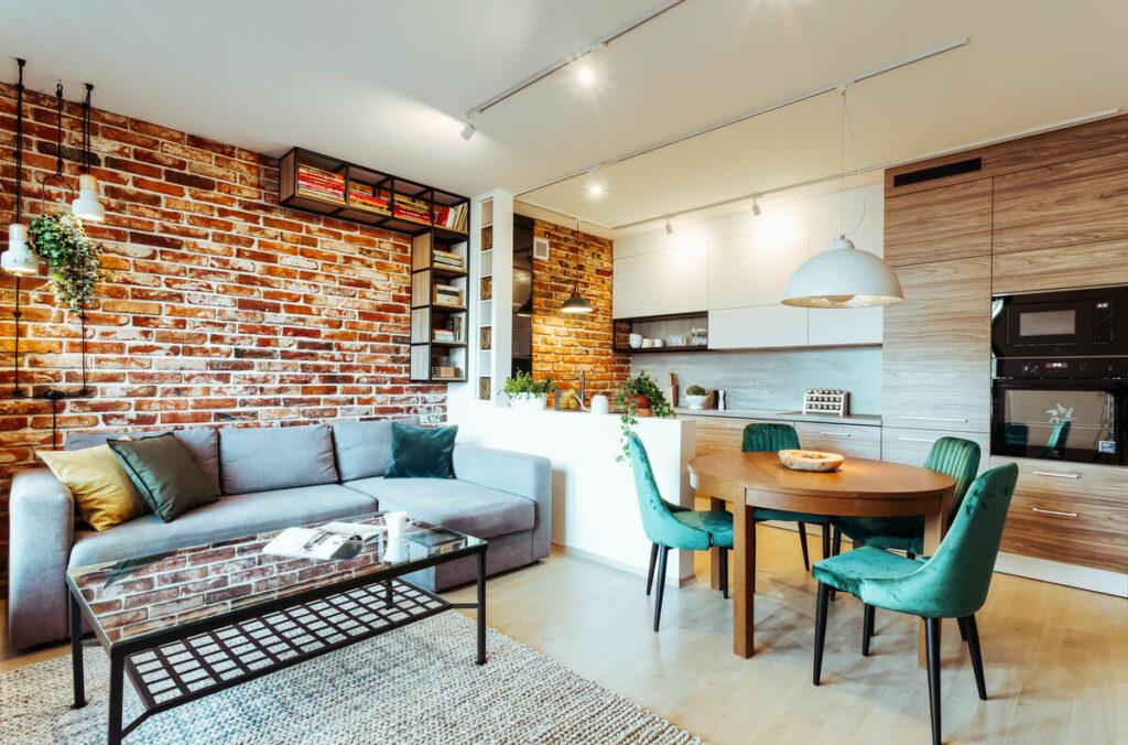 Salon w stylu loft- Warszawa Żoliborz