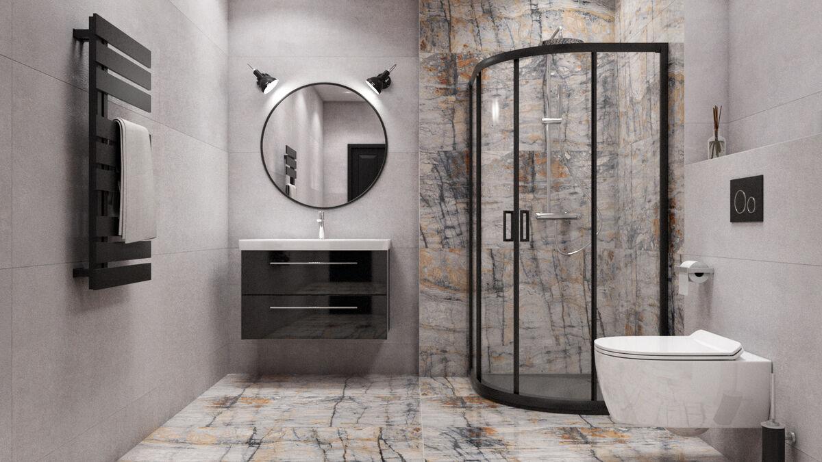 Aranżacja nowoczesnej łazienki z płytami Azario Blustone domni