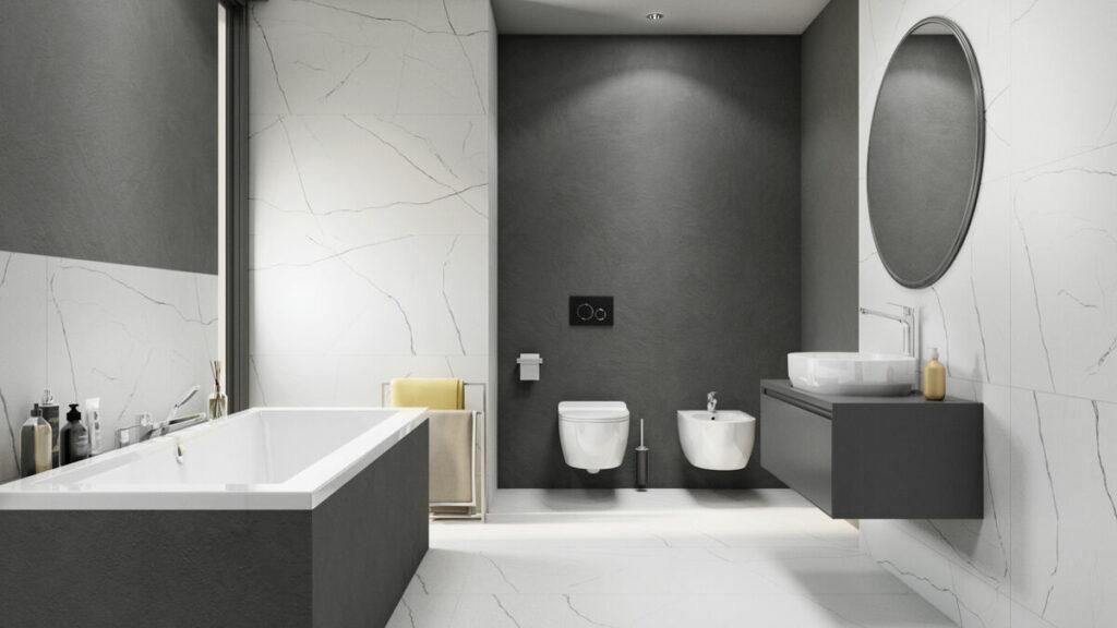 Szara łazienka z płytkami z wzorem fal domni.jpg