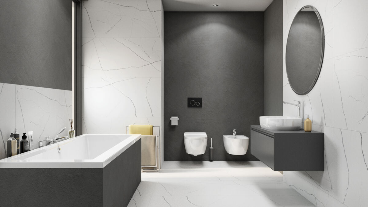 Nowoczesna łazienka wykończona płytami Azario Tanami domni