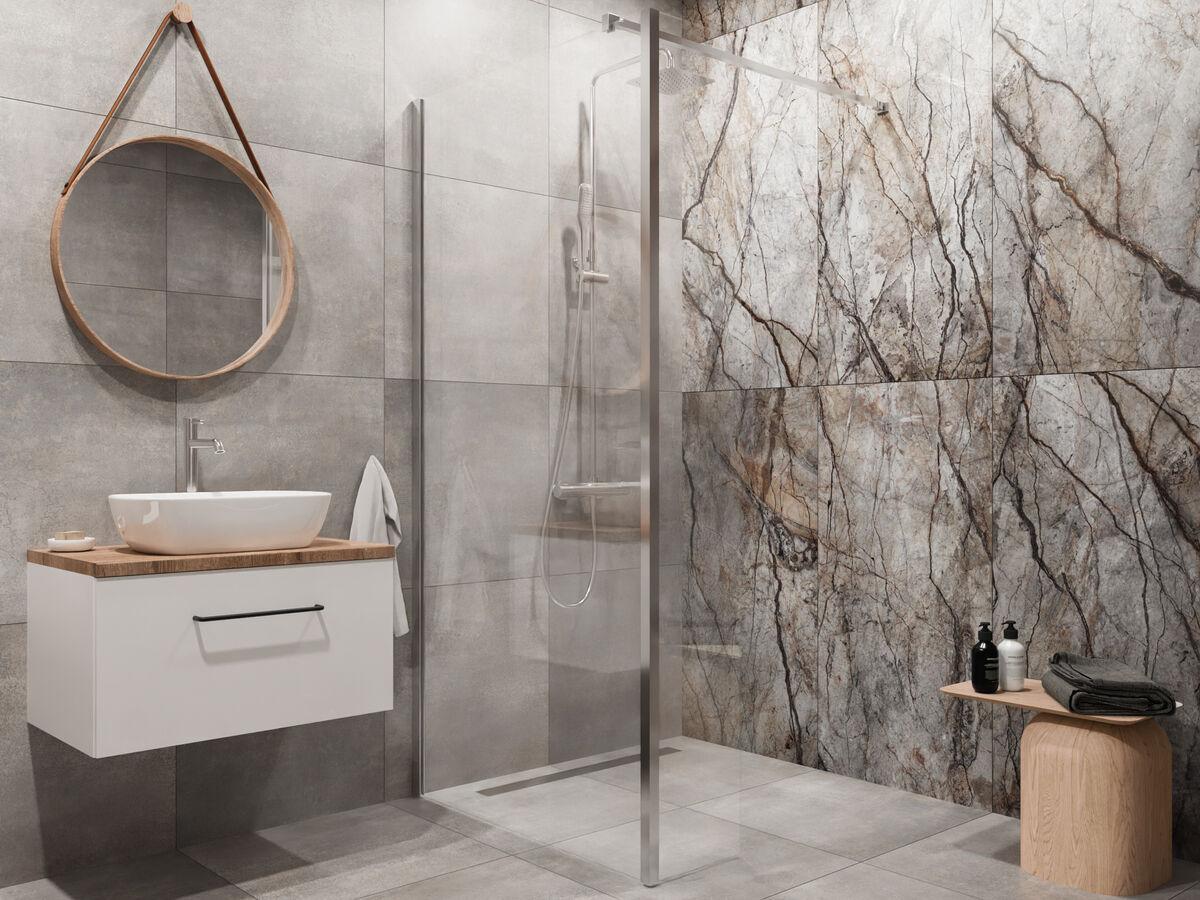 Nowoczesna łazienka z płytami z wzorem kamienia domni