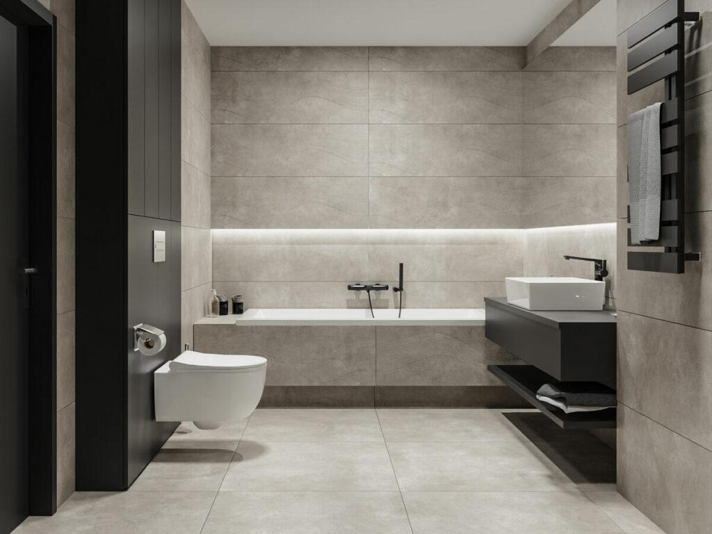 Szara łazienka z płytkami z wzorem fal domni