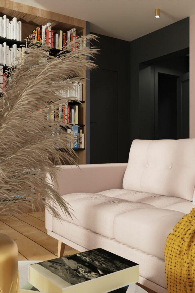 Salon w małym mieszkaniu- kanapa