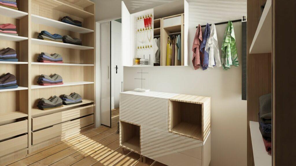 Aranżacja mieszkania w bloku garderoba z lustrem- Warszawa