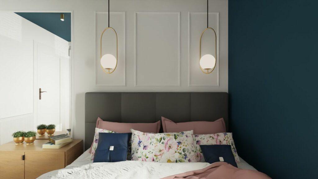 Aranżacja mieszkania w bloku lampy w sypialni- Warszawa