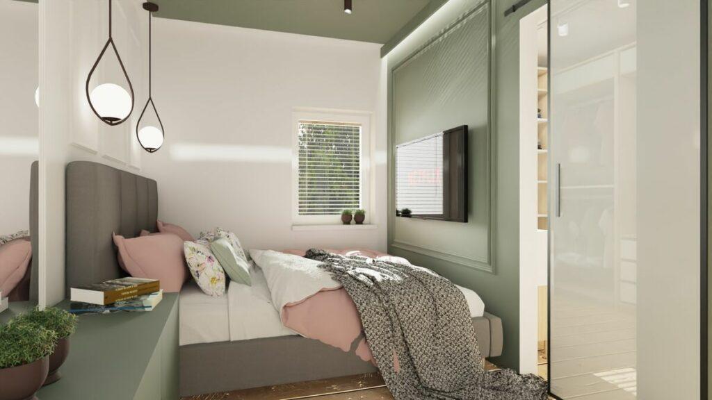 Aranżacja mieszkania w bloku sypialnia z oknem- Warszawa