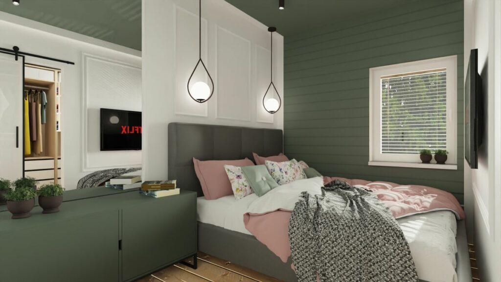 Nowoczesne mieszkanie w bloku zielona sypialnia- Warszawa