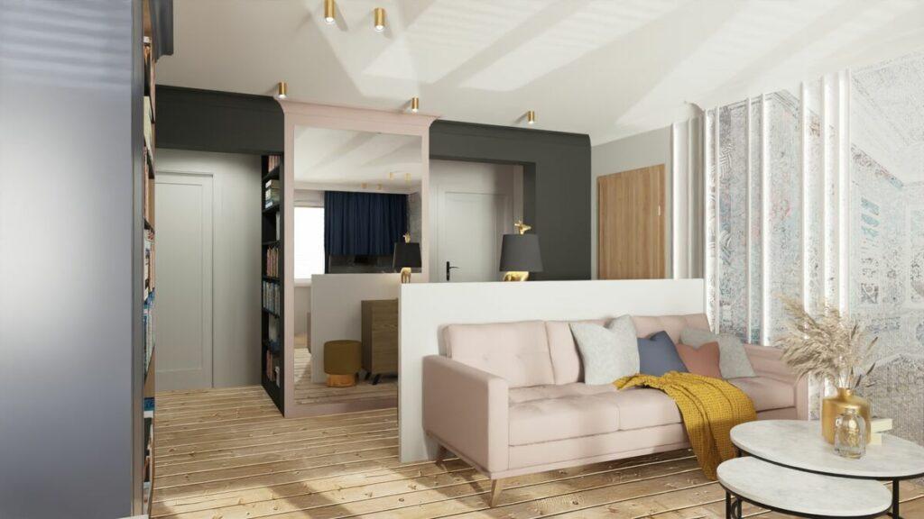 Projekt mieszkania w bloku kanapa- Warszawa