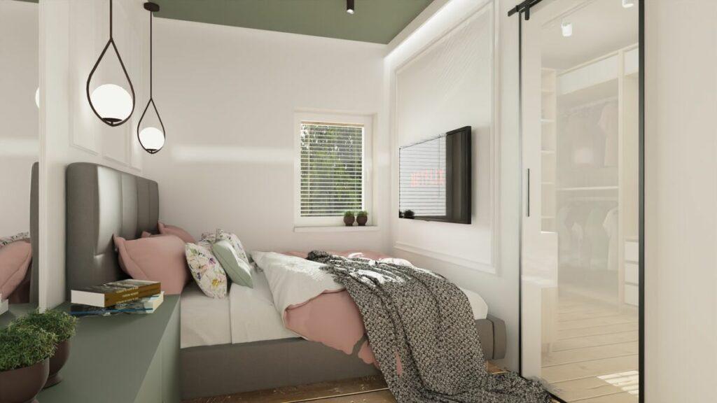 Projekt mieszkania w bloku sypialnia- Warszawa