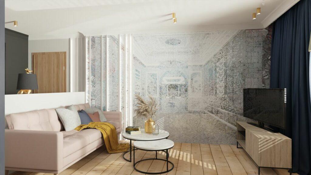 Projekt mieszkania w bloku ciekawa tapeta- Warszawa