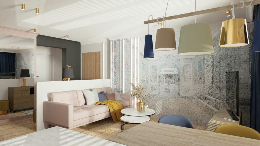 Wnętrza mieszkania w bloku podwójny stolik kawowy- Warszawa