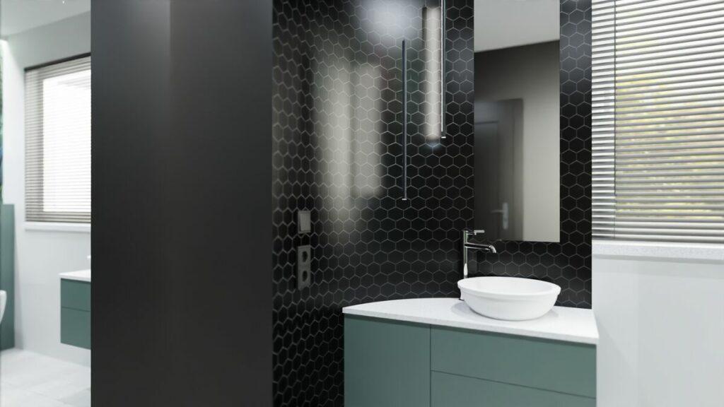 Aranżacja łazienki z prysznicem i z lustrem