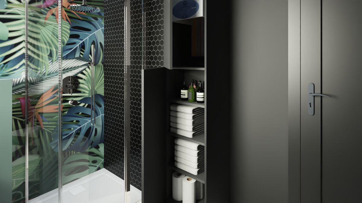 Aranżacja łazienki z prysznicem i szafkami