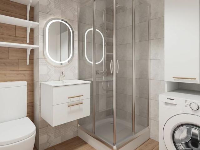 Projekt łazienki- mieszkanie 50 m na wynajem